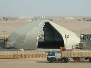 Center Pivot Rolling Doors Sprung tensile structure built for permanence and relocatable
