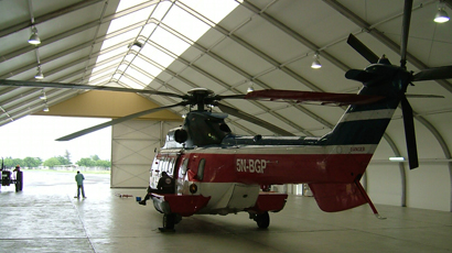Shell Nigeria helicopter hangar - in a large fabric building.