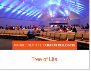 Tree of Life Church Color lights on ceilings Sprung white interior lining