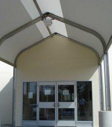 Sprung vestibule fabric building