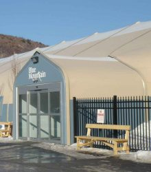 Sprung vestibule on this ski resort ticket and rental facility