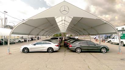 Mercedes Dealership Hail Shelter tensile building