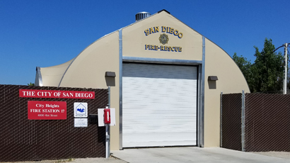 Fire Stations in San Diego uses a tensile structure fire station, clearspan interior, rolling service door and daylight panels in this fabric building's roof.