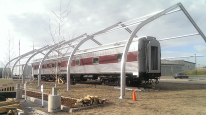 Rail Sprung Building - Sprung Temporary Structures - Canadian Pacific Railway wanted to renovate older passenger rail cars for corporate functions.