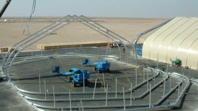 beams instalation of tensile structure