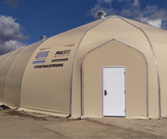 Spurng fabric strucure used as temporary building warehousing