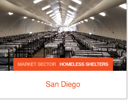 San Diego Homeless Bridge Shelters - Sprung Insulated Sprung Structures