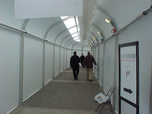 Sprung fabric building - Connecting Corridors at the CN Tower during renovations
