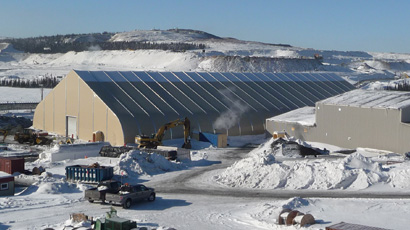 Sprung fabric building water treatment facility