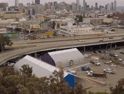 Division Circle Navigation Center San Francisco Homeless Shelter supplied by Sprung Structures
