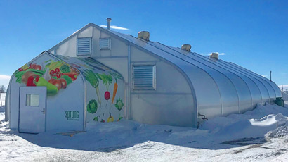 Sprung Greenhouse membrane building - tensile structure