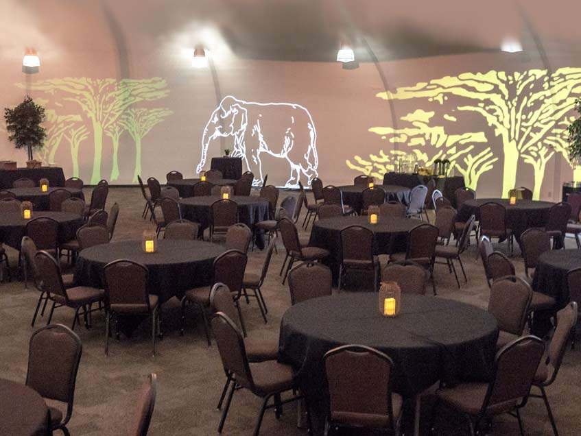 Cincinnati Zoo Banquet Facility with lighting effects on interior white lining