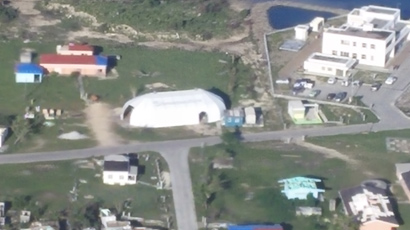 Samaritans Purse recovery for Barbuda - portable structure donated by Sprung Structures