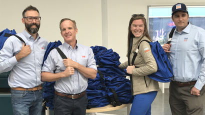 Donations of filled back-packs for homeless clients