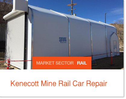 Sprung Fabric Building Rail Car Repair Facility at Mine Site built on existing rail system to allow rail cars to roll into one end